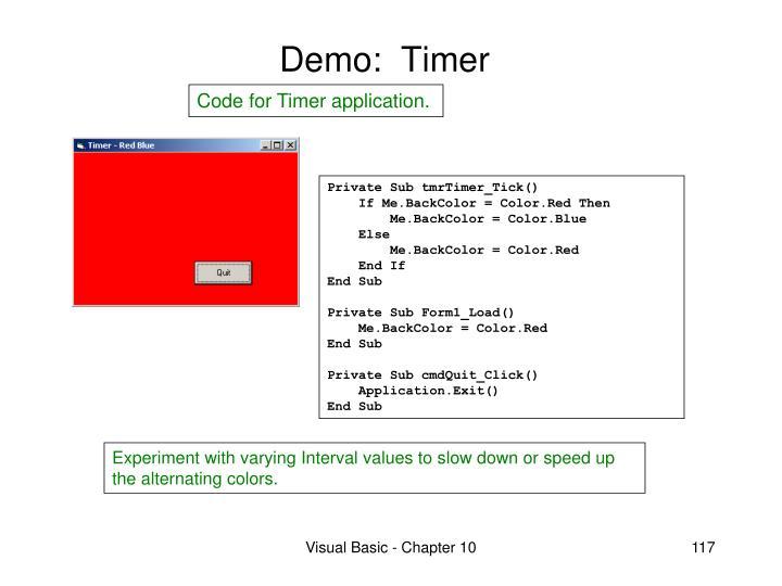 Demo:  Timer