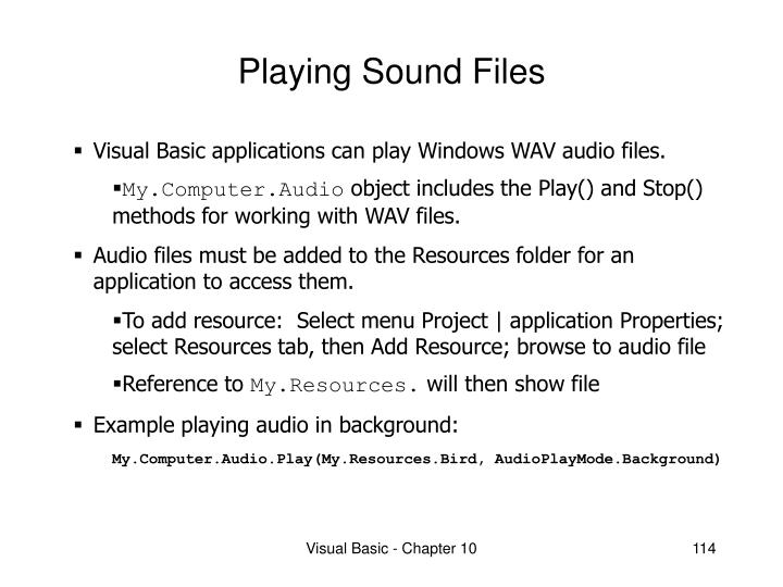 Playing sound files