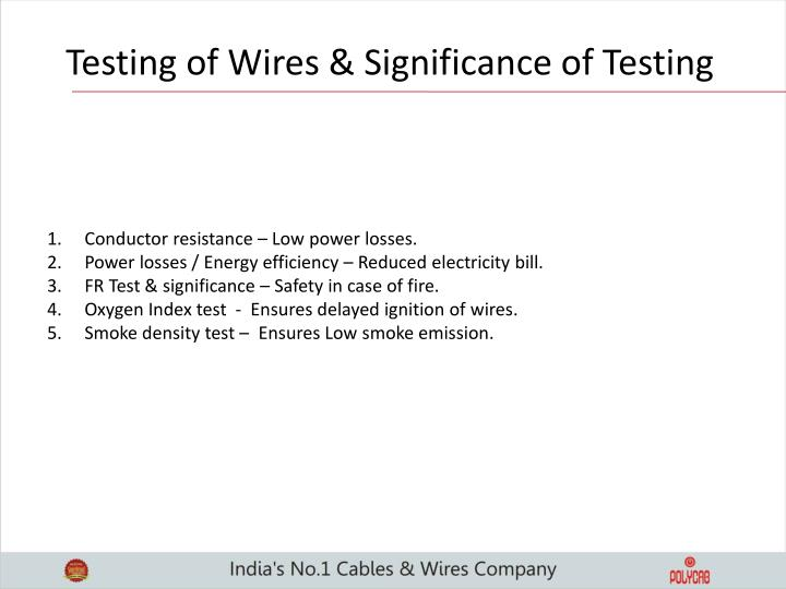 Testing of Wires & Significance of Testing