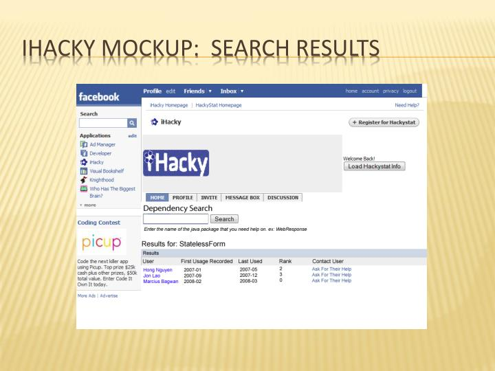 Ihacky mockup:  Search results