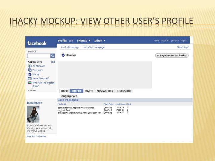 Ihacky mockup: view other user's profile