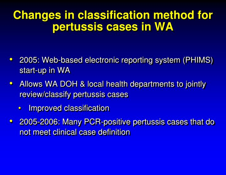 Changes in classification method for pertussis cases in WA