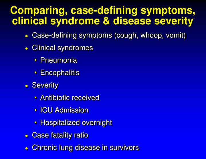 Comparing, case-defining symptoms, clinical syndrome & disease severity