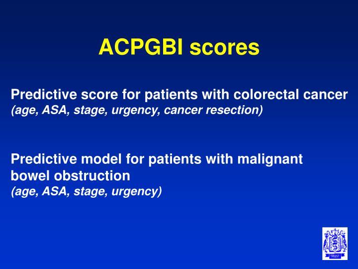 ACPGBI scores