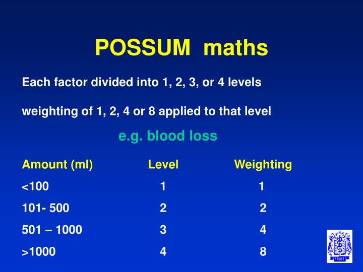 POSSUM  maths