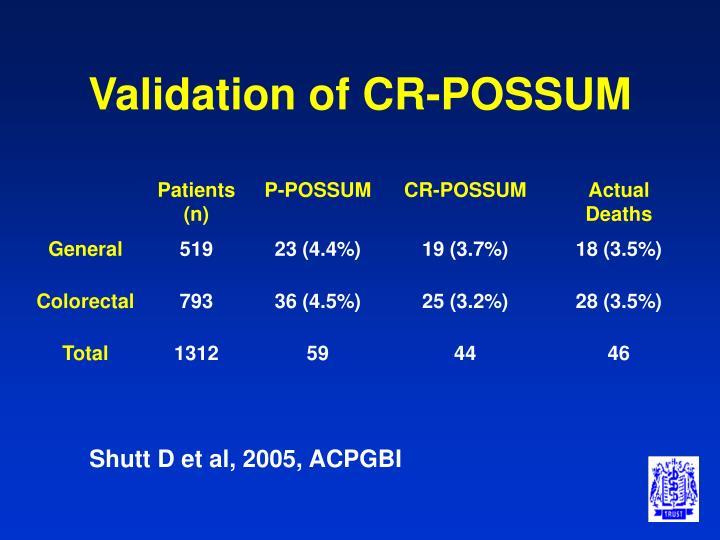 Validation of CR-POSSUM