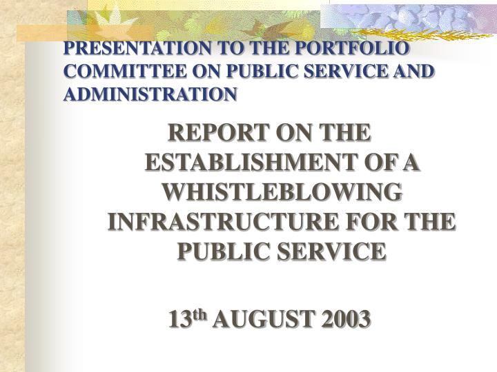 presentation to the portfolio committee on public service and administration n.