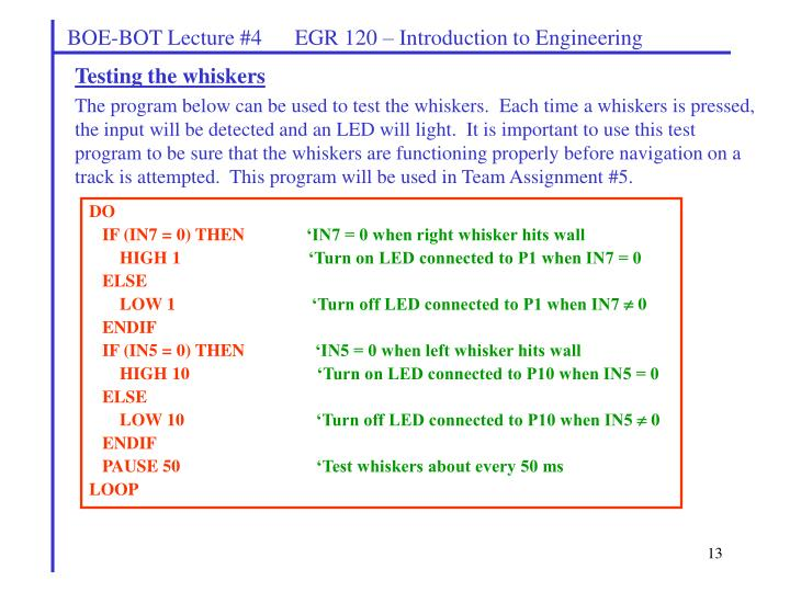 BOE-BOT Lecture #4      EGR 120 – Introduction to Engineering