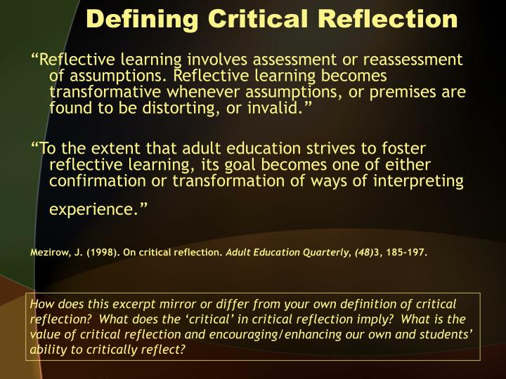 define critical reflection essay