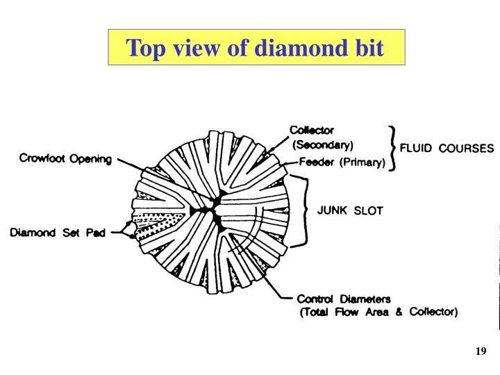 Top view of diamond bit