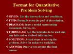 format for quantitative problem solving