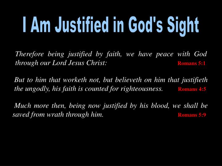 I Am Justified in God's Sight