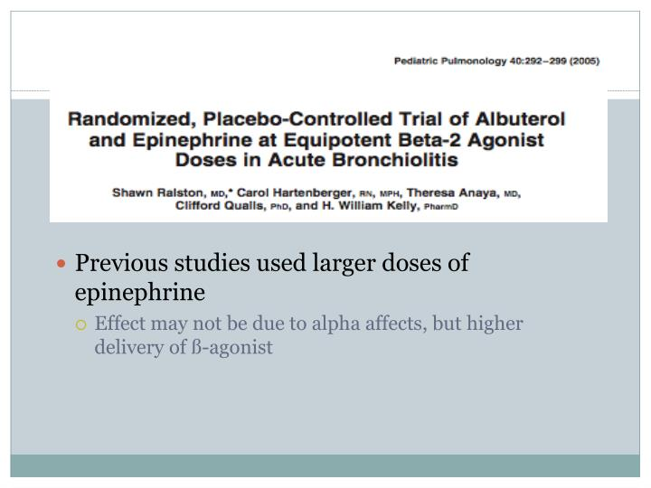 Previous studies used larger doses of epinephrine