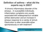 definition of asthma what did the experts say in 2003