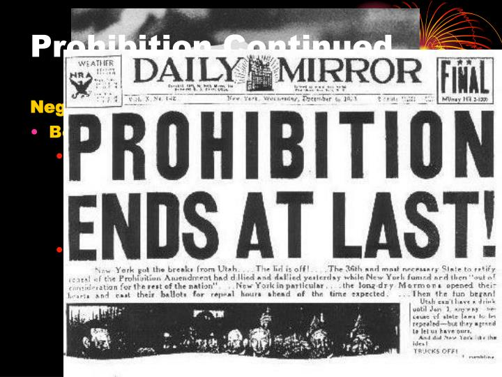 how did the prohibition change usa essay The 18th amendment was to prohibit alcoholic beverages in the united states in the early 1920's the 18th amendment went into effect, the country was dry, meaning everyone was sober prohibition means the banned of alcohol.