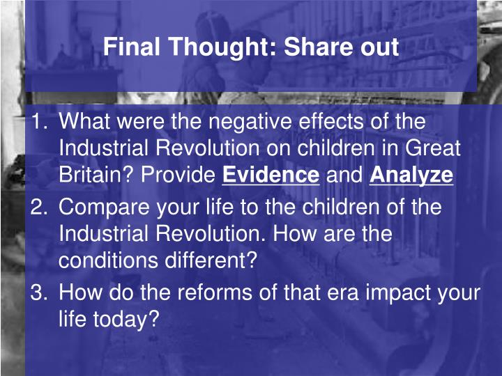 3 negative effects of the industrial revolution