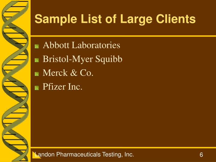 Sample List of Large Clients