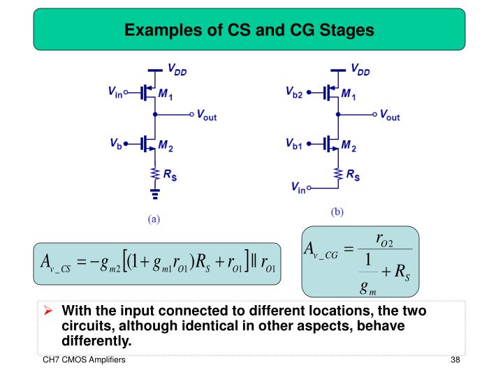 Examples of CS and CG Stages