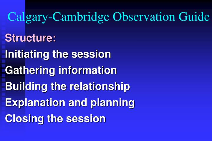 Calgary-Cambridge Observation Guide