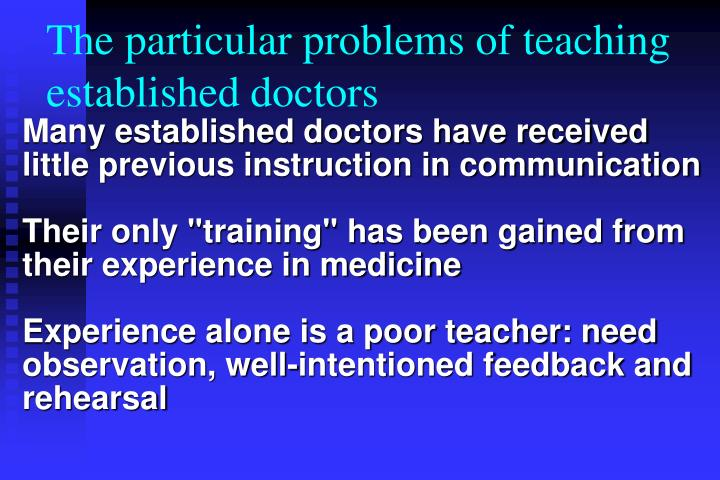 The particular problems of teaching