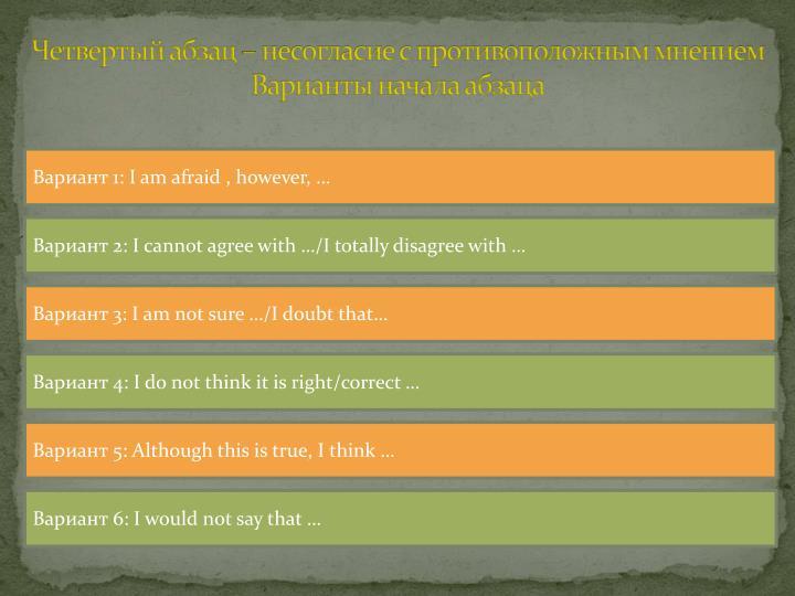 Четвертый абзац – несогласие с противоположным мнением