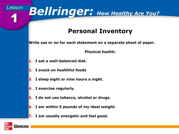 Bellringer how healthy are you