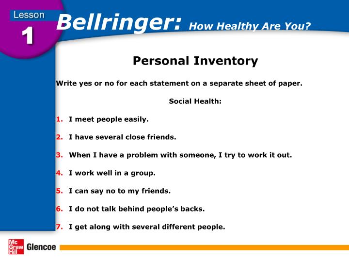 Bellringer how healthy are you2