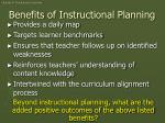 benefits of instructional planning