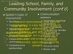 leading school family and community involvement cont d