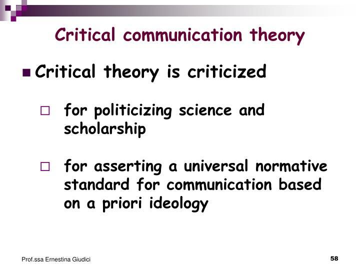 Critical communication theory
