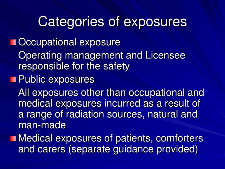 Categories of exposures