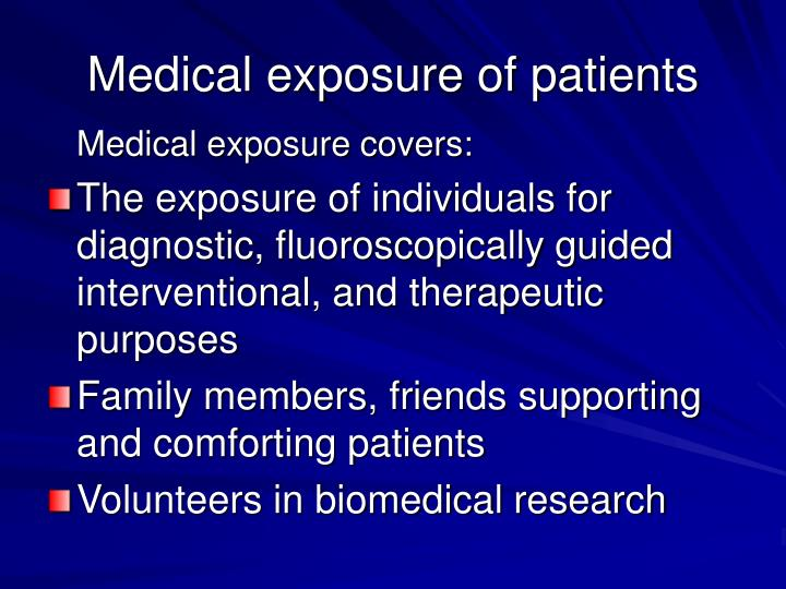 Medical exposure of patients