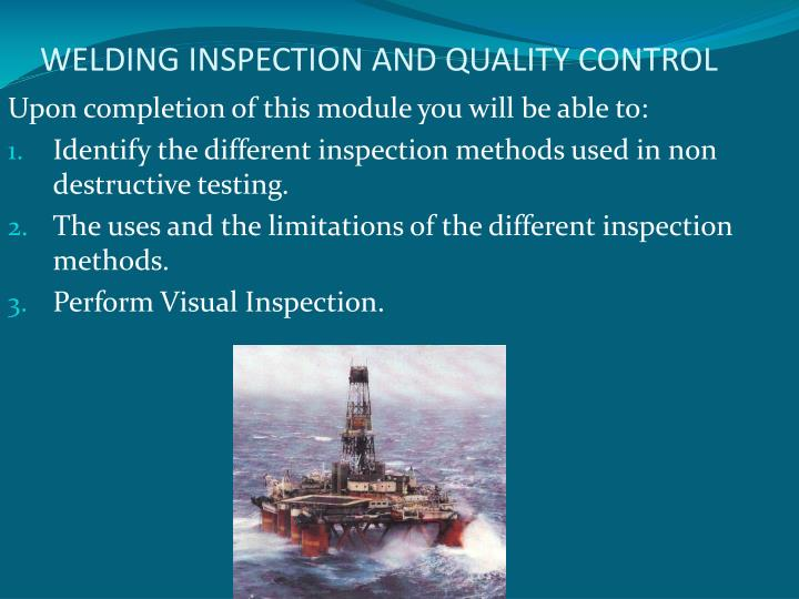 welding inspection and quality control n.