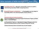 other examples of mdb interventions in road safety