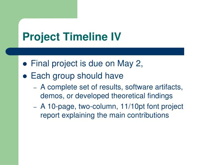 Project Timeline IV