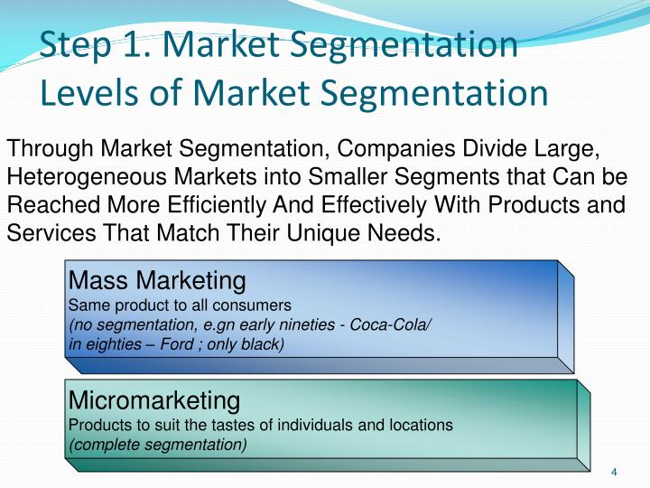 advantages of market segmentation Market segmentation is the activity of dividing a broad consumer or business market, normally consisting of existing and potential customers, into sub-groups of consumers (known as segments) based on some type of shared characteristics.