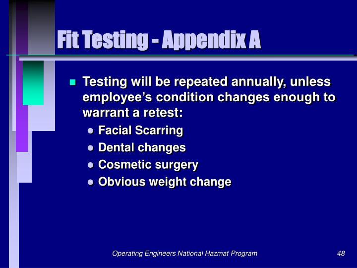 Fit Testing - Appendix A