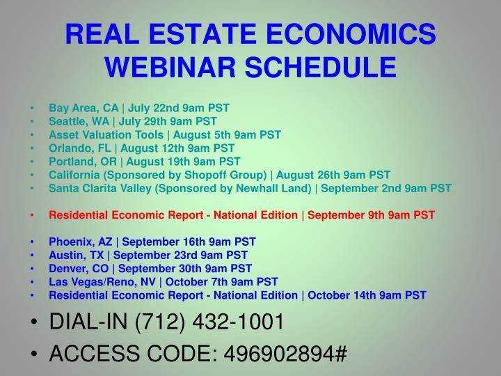 Real estate economics webinar schedule