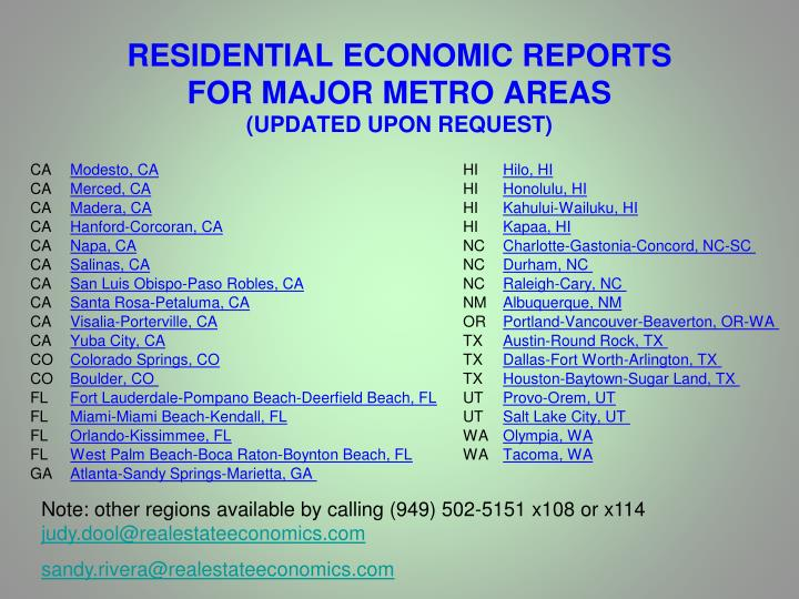 RESIDENTIAL ECONOMIC REPORTS