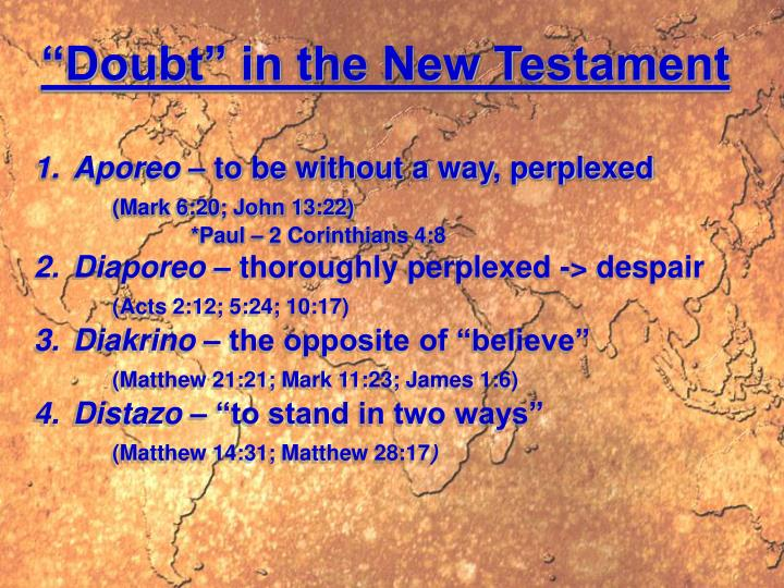 """""""Doubt"""" in the New Testament"""