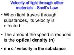 velocity of light through other materials snell s law