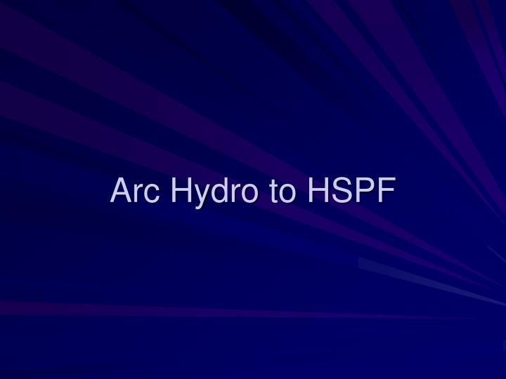 Arc Hydro to HSPF