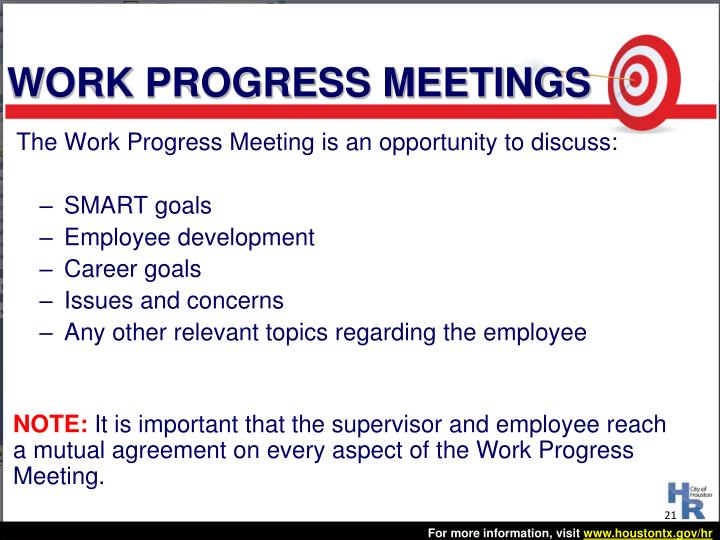 WORK PROGRESS MEETINGS