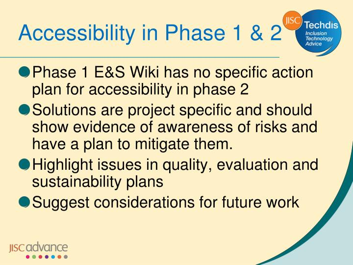 Phase 1 E&S Wiki has no specific action plan for accessibility in phase 2