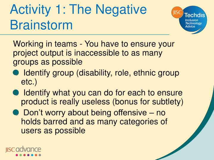 Activity 1: The Negative Brainstorm