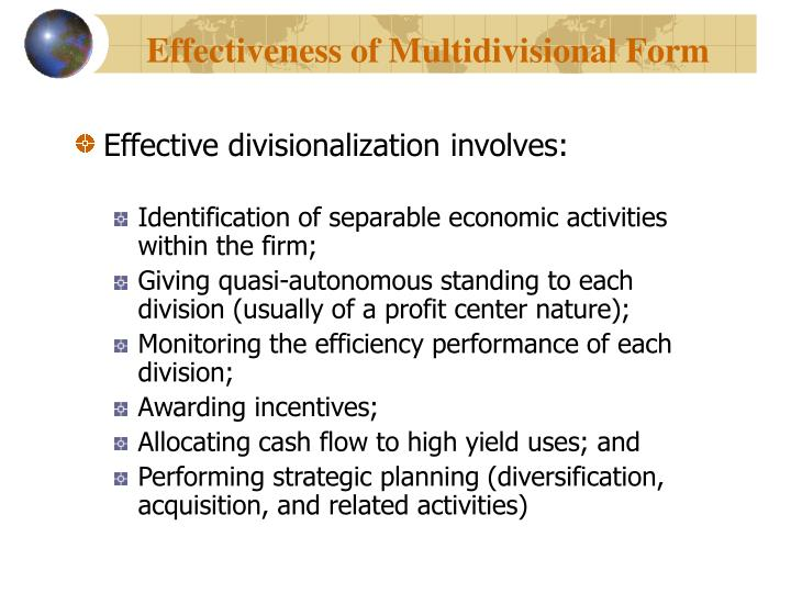 Effectiveness of Multidivisional Form