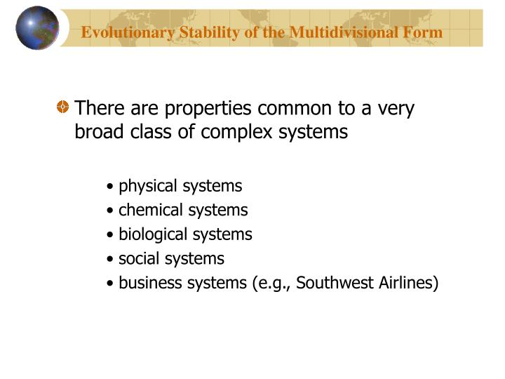 Evolutionary Stability of the Multidivisional Form