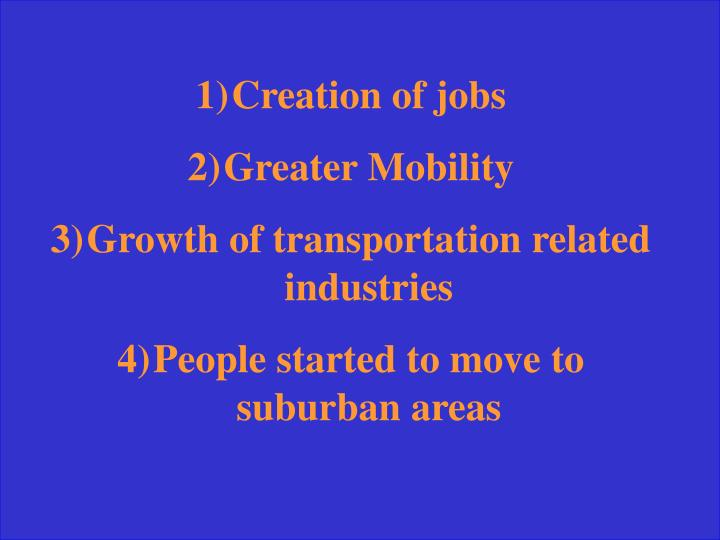 Creation of jobs