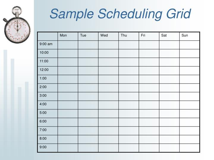 Sample Scheduling Grid