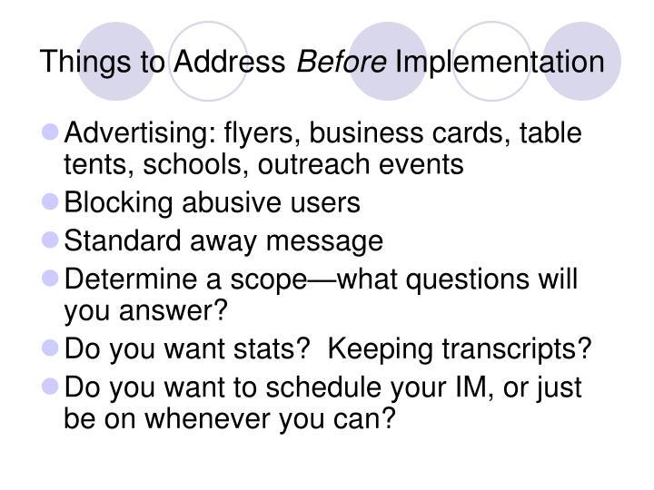Things to Address